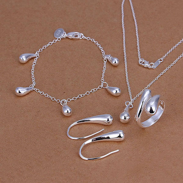 Fashion Women Teardrop Sterling Silver Jewelry Sets Necklaces Bracelets Rings Earrings,Vintage Costume Jewelry Set for Wedding(China (Mainland))