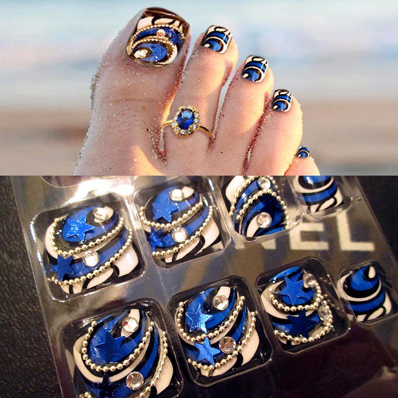 24pcs/box False Fake Toe Nail Nails with Glue Fake Diamond Blue Color for Wedding Party Nail Art(China (Mainland))