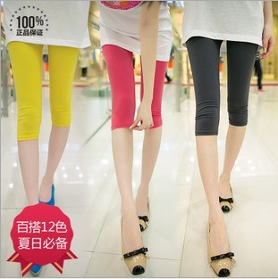 Casual capris female high waist milk silk viscose legging female