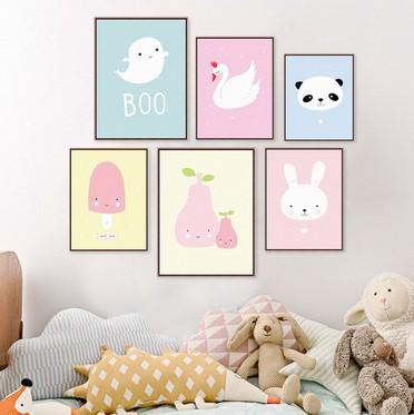 Kawaii Animal Panda Poster Print Modern Nordic Cartoon Nursery Wall Art Picture Kids Baby Room Decor Canvas Painting No Frame(China (Mainland))