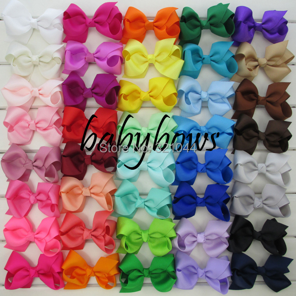 40pcs/lot 3.3'' Grosgrain Hair Ribbon Bows WITH Alligator Hair Clips Baby Boutique Girls Bows hairpins Girls' Hair Accessories(China (Mainland))
