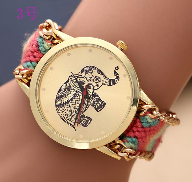 Бренд сотканное вручную elephant Quarzt дружба браслет женева женщины часы relogio masculino кварцевый часы