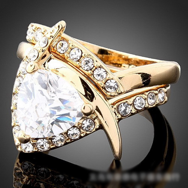 2 in 1 Fine jewelry vintage triangle Stone crystal inlaid ring 24K gold party Rings for women New Sale free shipping R141(China (Mainland))