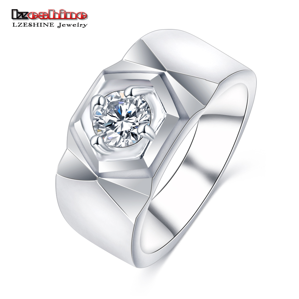 LZESHINE 2016 Men's Ring Jewelry Platinum Plated Beauty Crystal Wedding Men Ring With CZ Stone Male Cool Party Jewelry CRI0408-B(China (Mainland))