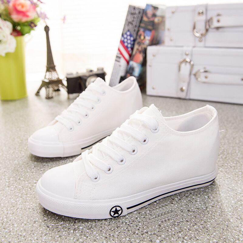 Aliexpress.com Comprar 2015 zapatos del verano mujeres con cordones de lona alpargatas blancas pisos mujeres de lofers \\ spor bayan ayakkabi \\ zapatos de