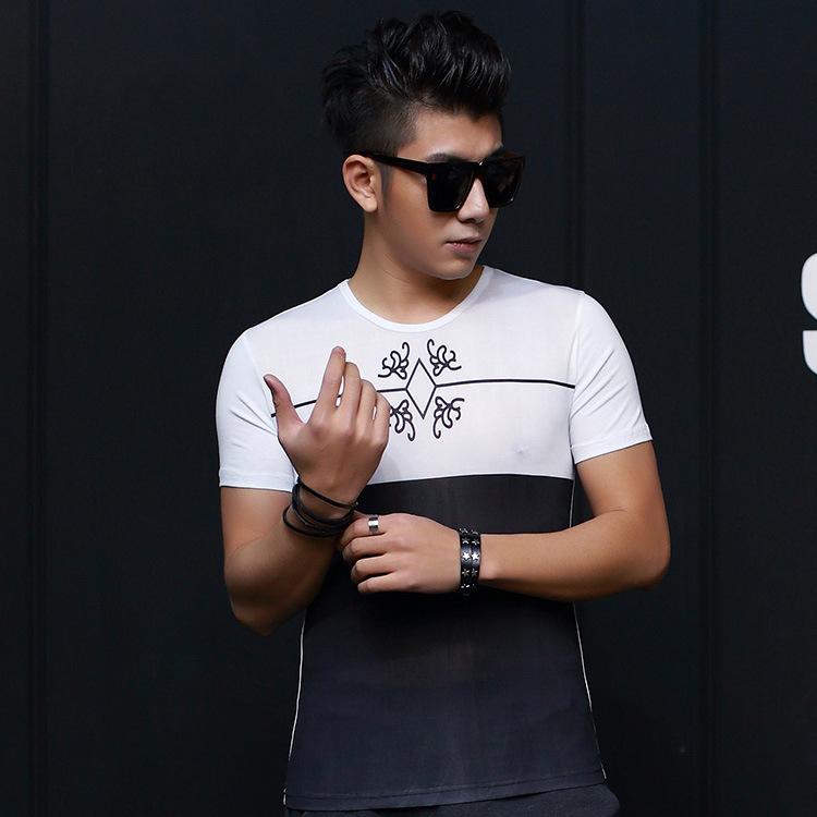 Aliexpress explosion of Korean men's T-shirt short sleeve shirt stitching slim new male god essential summer 2016(China (Mainland))