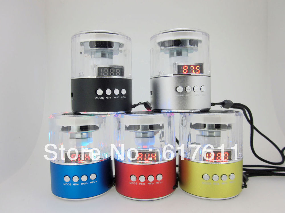 The new Crystal portable mini speakers / support TF card U disk FM radio LED colorful flashing lights free shipping(China (Mainland))