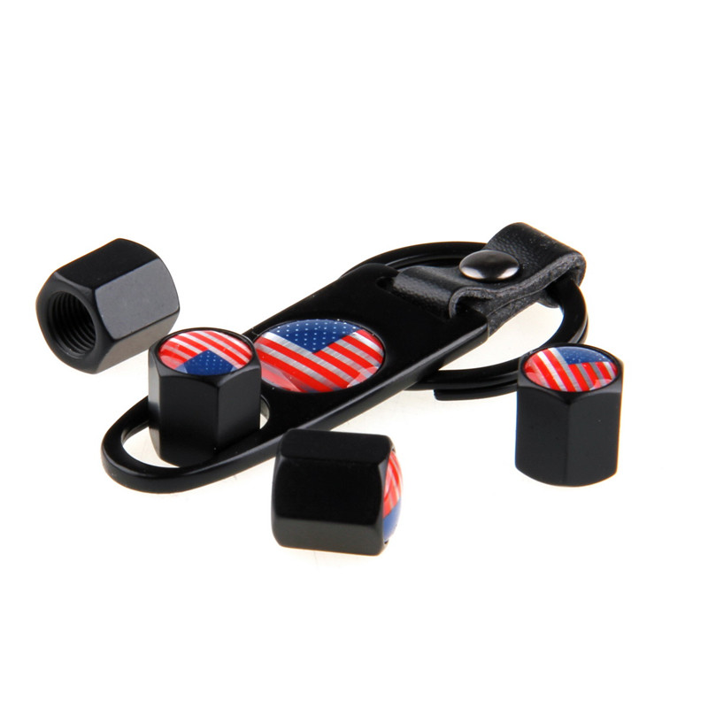 -90% OFF 4 Pcs/Set Car Auto Motorcycle Black Car Wheel Airtight Tyre Tire Stem Air Valve Caps With Keychain Country Flag Style(China (Mainland))