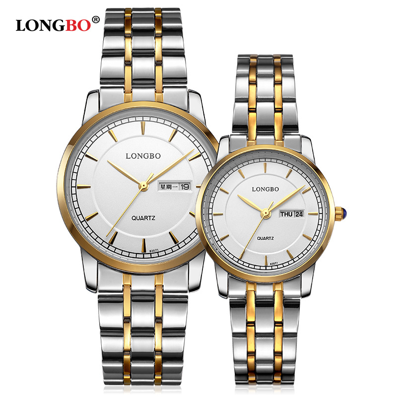 Fashion LONGBO Brand Full Stainless Steel Men's Ladies Couple Business Live Waterproof Watches Calendar Dress Lovers' Watches(China (Mainland))