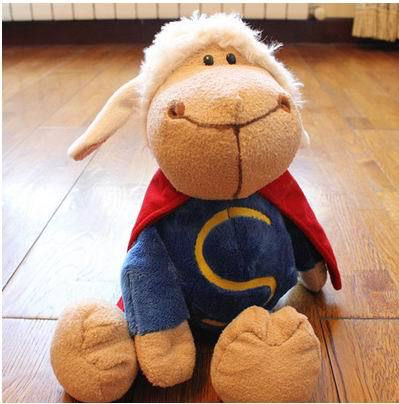 Free Shipping 27CM, 35c,50CM Superman Sheep Plush Toys Stuffed Animal Baby Dolls Gift For Children(China (Mainland))