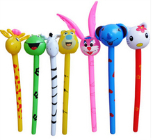 Free Shipping Pvc inflatable child toy animal head long stick bugs bunny monney stick(China (Mainland))