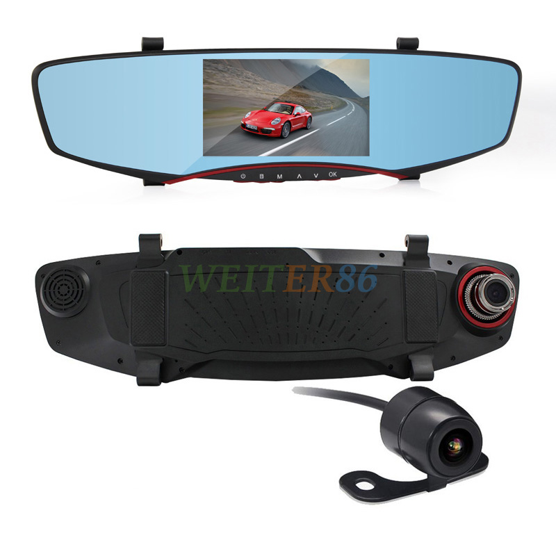 5.0 Inch Car DVR Camera Video Recorder 1080P Rearview Mirror Dash Cam 140 Degree Angle Vehicle Dual Lens Car Black Box Rear View(China (Mainland))