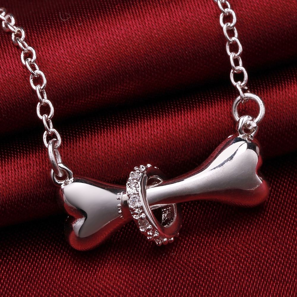 2016 N624 Hot Paw Silver Necklace Dog Bone Tag Rolo Bell 18 Inch Pendant Necklace Doggie Cute Puppy Pet Wholesale Jewelry(China (Mainland))