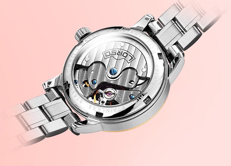 LOREO Germany watch women luxury brand royal classic authentic diamond automatic mechanical red relogio feminino