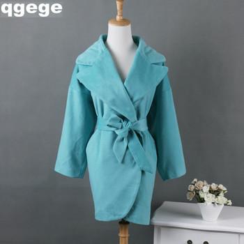 2015 осень женщины пальто чистый цвет большой нагрудные 3/4 рукав пояса смеси дизайнер ...