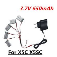 3.7V 650mah LiPo Battery + Charger Euro Plug for SYMA X5C-1 X5C X5 X5SC X5SW JJRC H9D H5C RC Drone Quadcopter Spare Parts Set