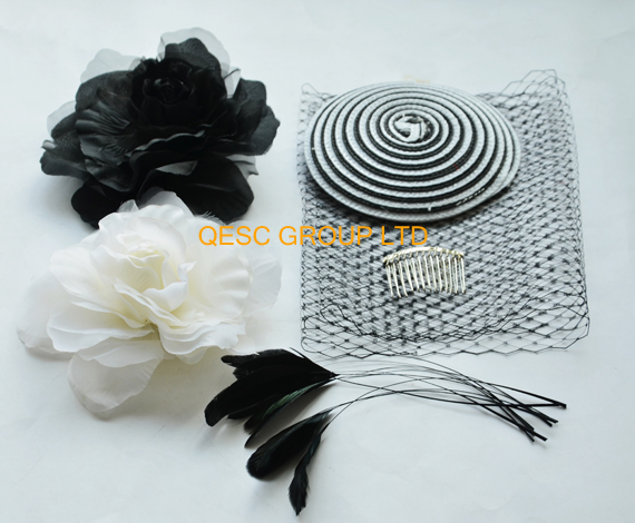 White black PP straw base veiling silk flower satin headband feathers fo Wedding fascinator kentucky derby Races.(China (Mainland))