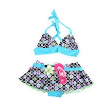 Girls Children Swimming Bathing Suit Biquine Butterfly Printed Costume Swimwear Swimsuit Bikini Meias Infantil Two Pieces