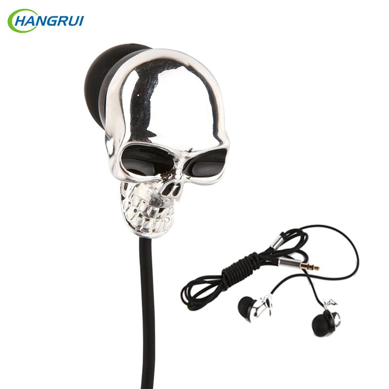HANGRUI Personality Metal In ear earphone skull head Earplug Super Bass Headset Wired Control Earbud For xiaomi Mi5 smartphone(China (Mainland))