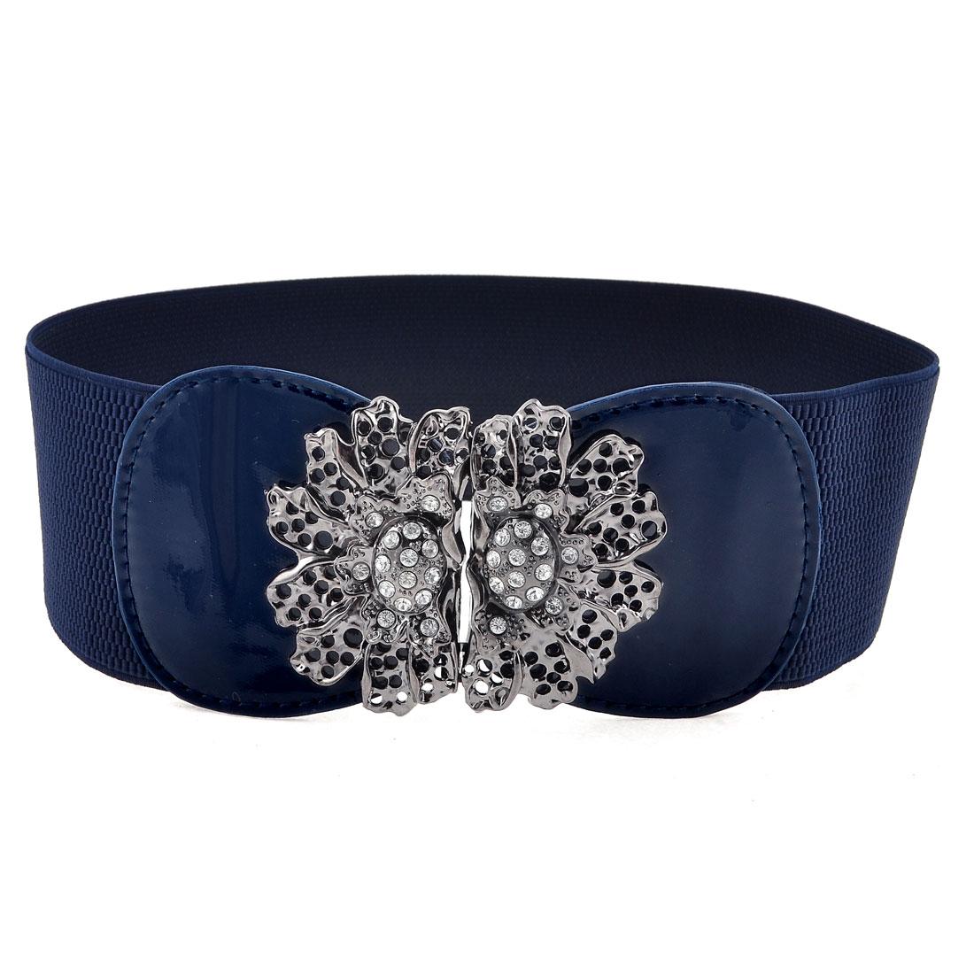 Ladies Hook Buckle Closure Textured Elastic Waist Belt Corset Band Navy Blue(China (Mainland))