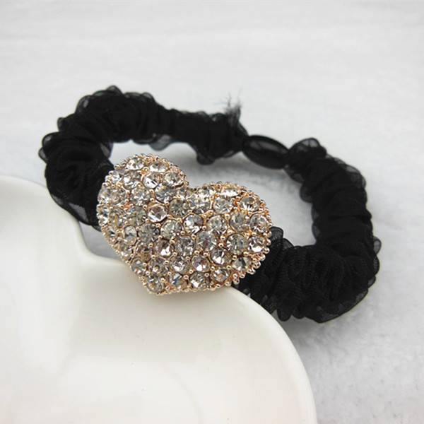 New Popular 10Pcs/Set Gold Color Heart Shape Crystal Round Women Black Rubber Bands Headdress Hair Head Rope Acessories(China (Mainland))