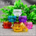 Free Shipping 2g 3g 5g Plastic Empty bottle jar Pink Clear Blue Cream Eye Gel Small Lipstick Sample Empty Cosmetic Containers