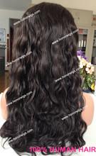 Hotselling suelta la onda peluca llena del cordón del pelo indio con el pelo del bebé para negro mujeres super largo 24 pulgadas humano pelucas llenas del cordón