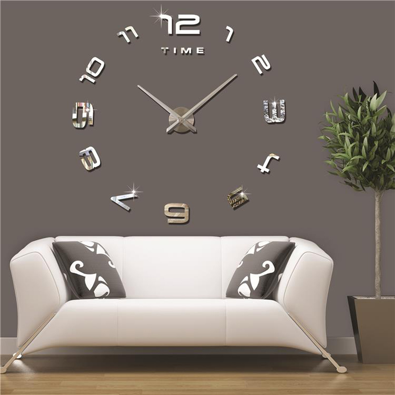 Brand hippih large 3d wall clock mirror sticker diy wall for 3 suisses decoration murale