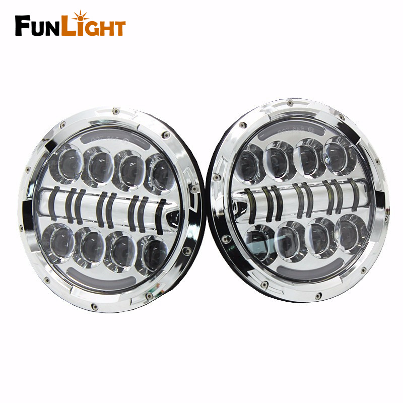 Funlight 80W 7 Inch Round Led Headlight With DRL+Yellow turn signal for Wrangler Jk Tj Fj Cruiser Trucks Off Road Light(China (Mainland))