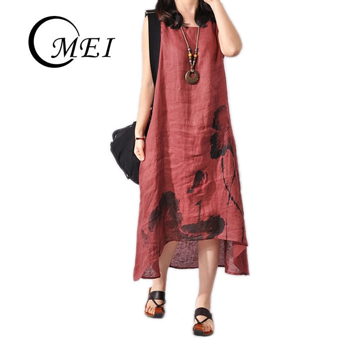 OMEI: Summer Long Dress 2015 Sleeveless Maxi Dress Plus Size Cotton Vintage Flower Vestidos Loose Red Party Dresses Summer Style(China (Mainland))