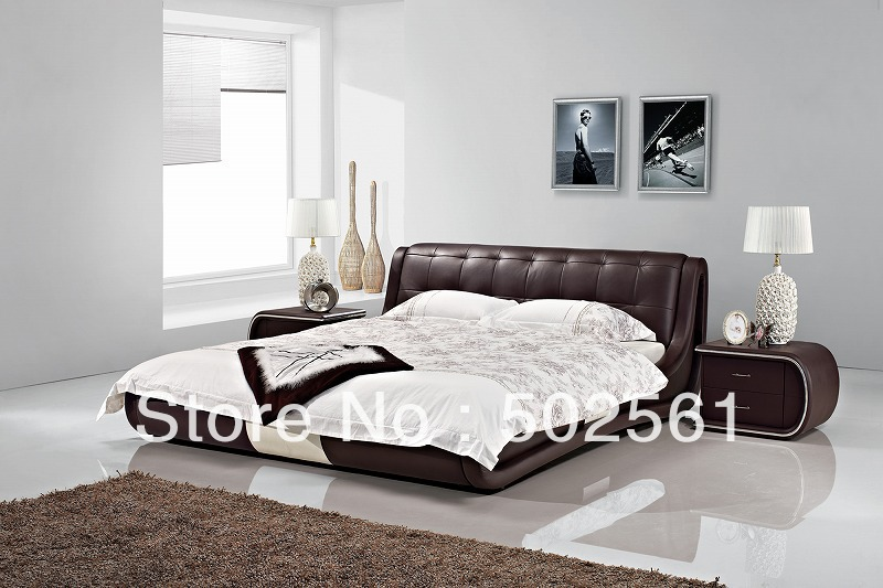 2014 new modern genuine leather leisure bed include salt bedroom furniture king queen double(China (Mainland))