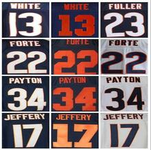 Best quality jersey Men's 13 Kevin White 17 Alshon Jeffery 23 Kyle Fuller 34 Walter Payton 22 Matt Forte jersey White Blue(China (Mainland))