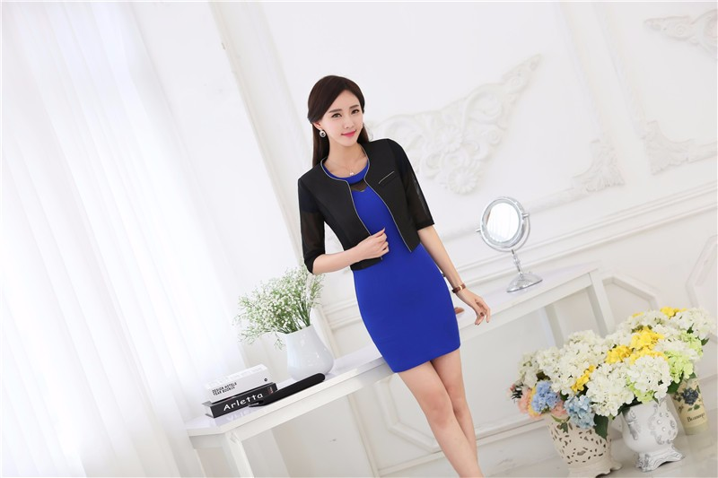 Formal OL Styles Uniform Designs Business Women Dress Suits Jackets And Dress Work Sets Fashion Ladies Office Blazers Outfits