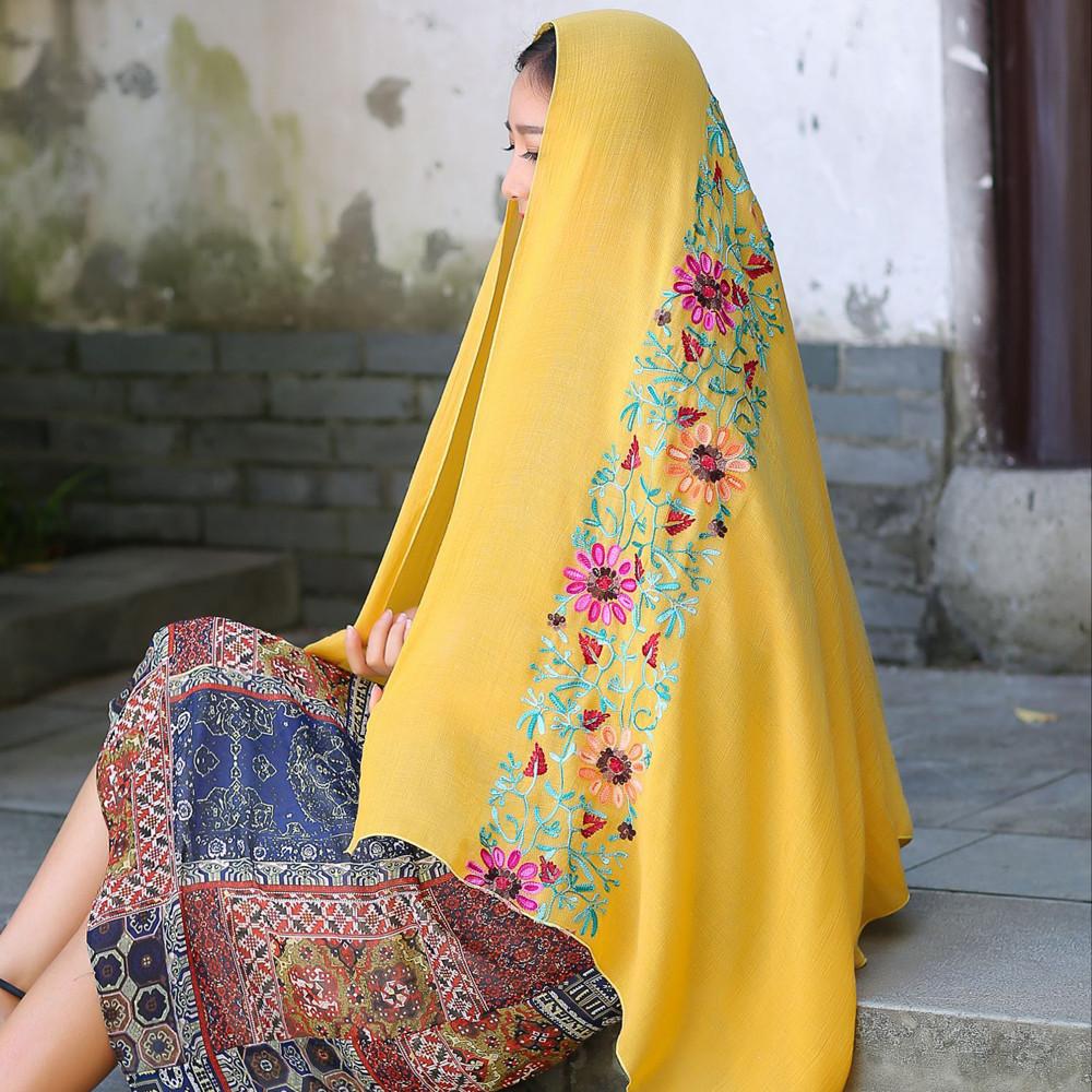 KLV Autumn Winter Women National Embroidery Sarong Wrap Shawl Style Scarves