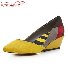 genuine leather platform spring summer pointed toe shoes woman pumps new fashion wedges heels women dress party casual shoes(China (Mainland))