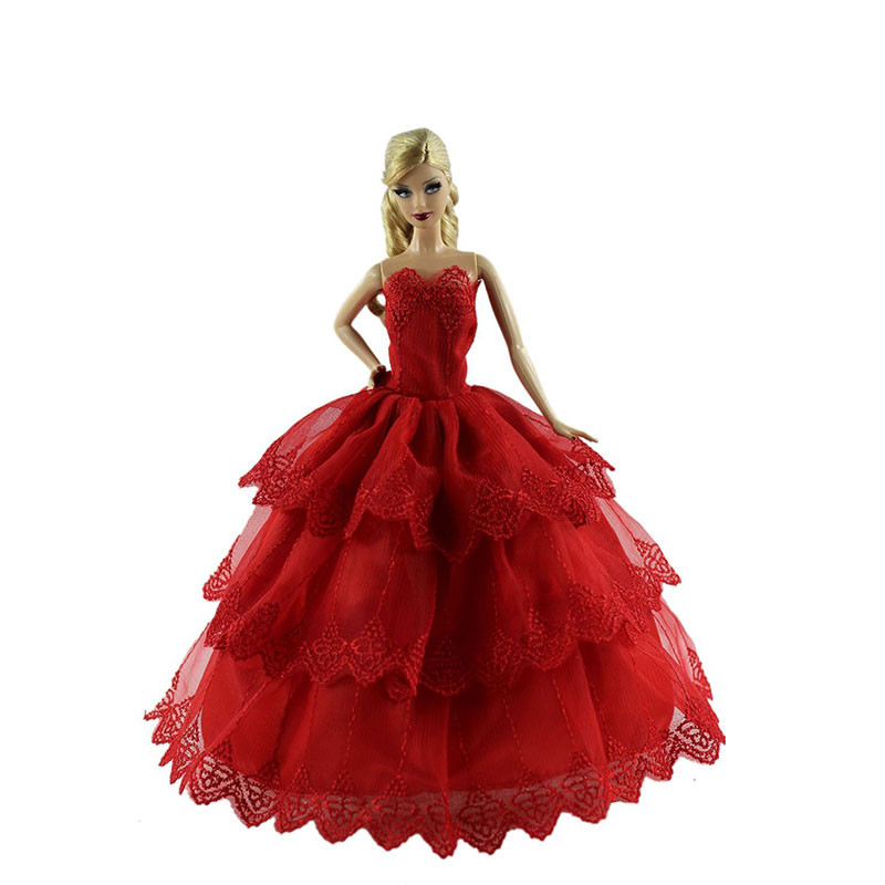 6PCS Wedding ceremony Gown for Barbie Doll Elegant Lace Multi Layers Wedding ceremony Gown For Barbie Doll Luxurious Floral Doll Gown Garments