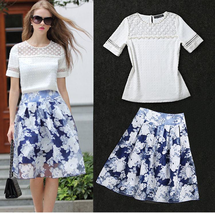 fashion 2 pieces women lace skirt set white t shirt