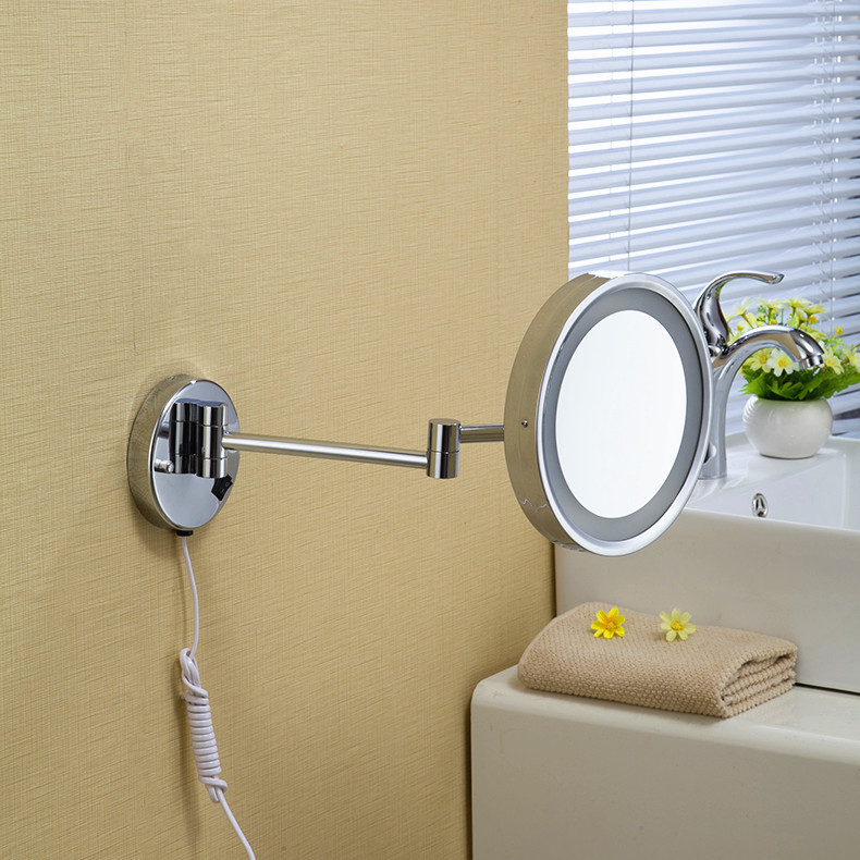 """Free Shipping 8""""Wall Mounted Round one side Bathroom Mirror LED Makeup Cosmetic Mirror lady's private mirror 1238(China (Mainland))"""