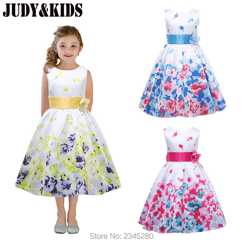Dresses For Girls Clothes Carnival Costumes For The New Year Girls Fancy Dress Child Party Flower Print Princess Kids 3-14 Years(China (Mainland))