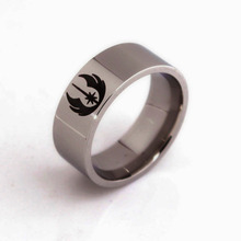 2pcs Star Wars ring Jedi Symbol men lord of the rings Men jewelry hand decorated titanium steel Beveled Brushed Center