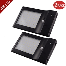 LederTEK 2-Pack 4 Modes 850 Lumens 48 LED Super Bright Solar Powered Wireless Motion Sensor Lights/ Wall Lights/ Security Light
