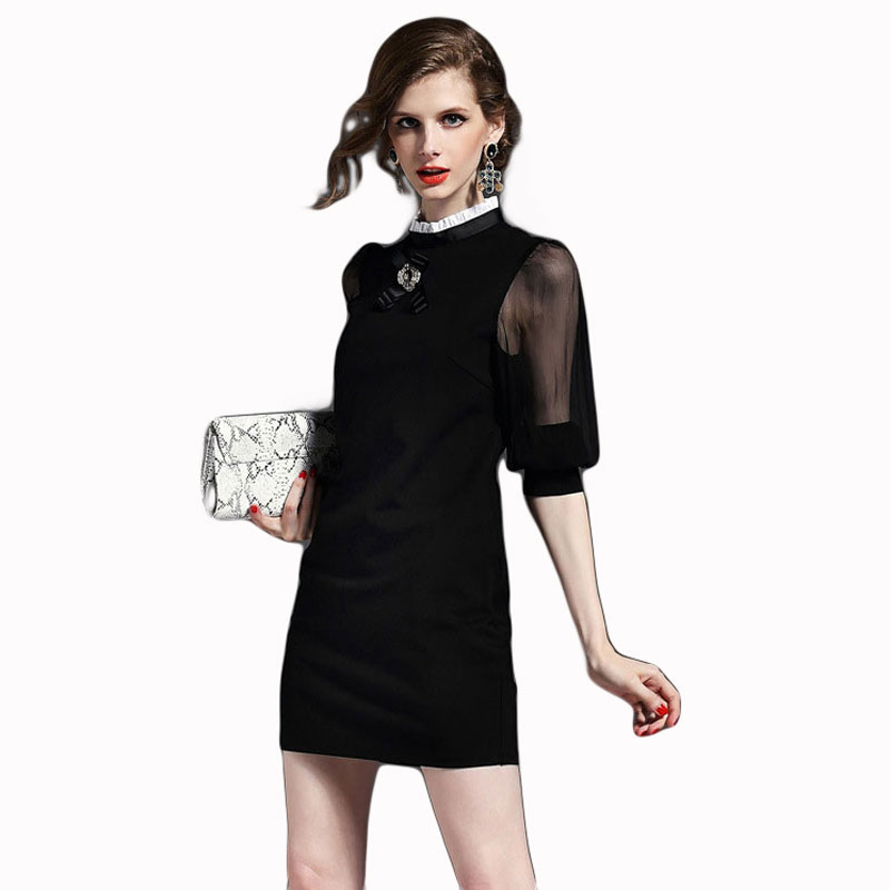 2015 Autumn New Fashion Women Stand Collar Lantern Sleeve Work Dress Ladies Office Dresses(China (Mainland))