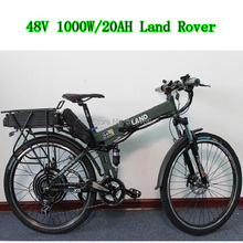 Electric Bike 48V 1000W Motor 48V 20Ah Li-ion Battery in Black Flat Alumnium Case + Double-Layer Rear Rack, with LCD Display(China (Mainland))
