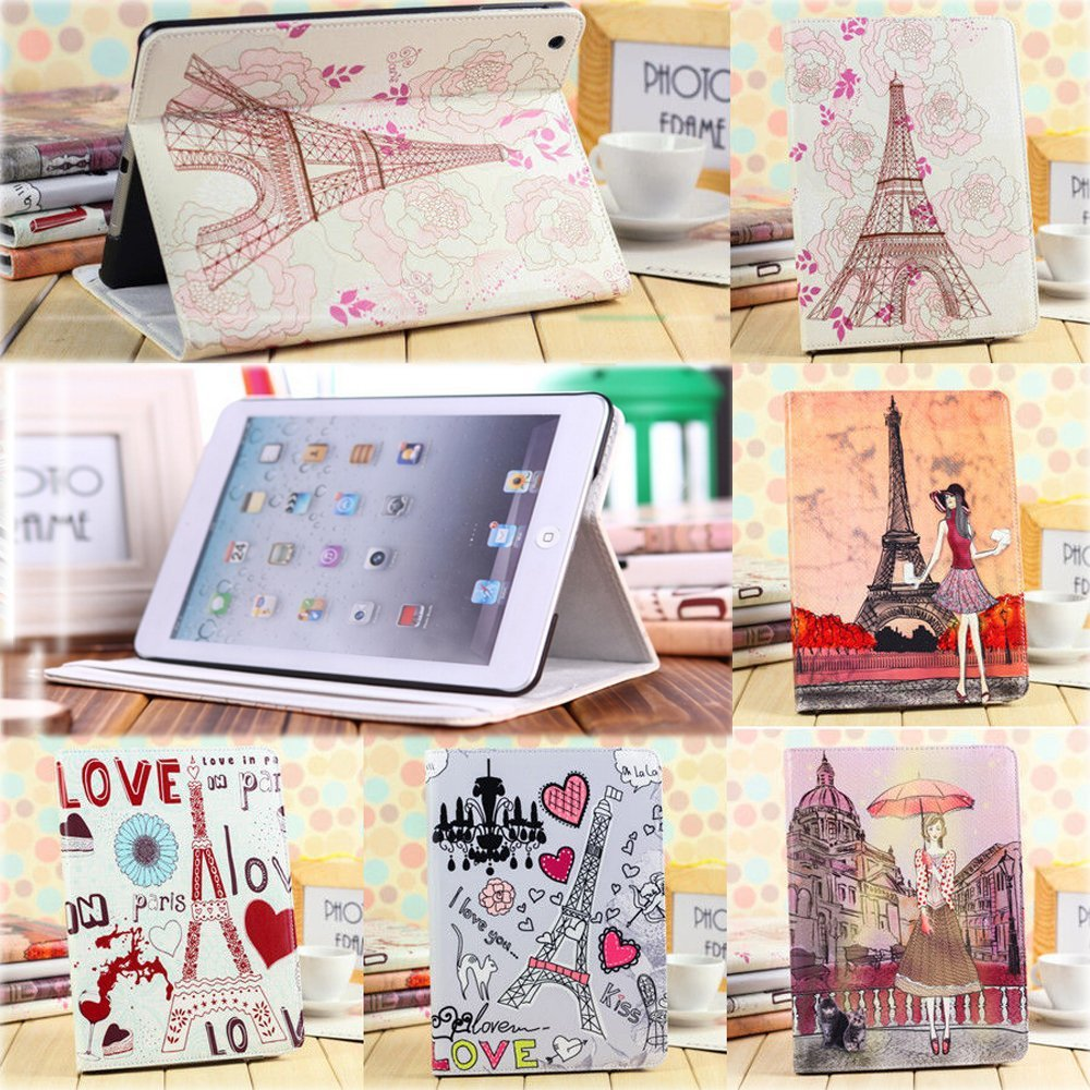 Book Style Flip Stand PU Leather Case For Apple Ipad mini 1 2 Romantic Tower Modern Girl Skin Cover(China (Mainland))
