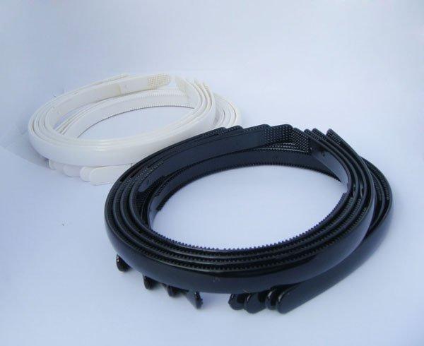 "20pcs White & Black headband hairstyles Tone Craft Blank Plain Plastic Headbands 1/2"" with Teeth(China (Mainland))"