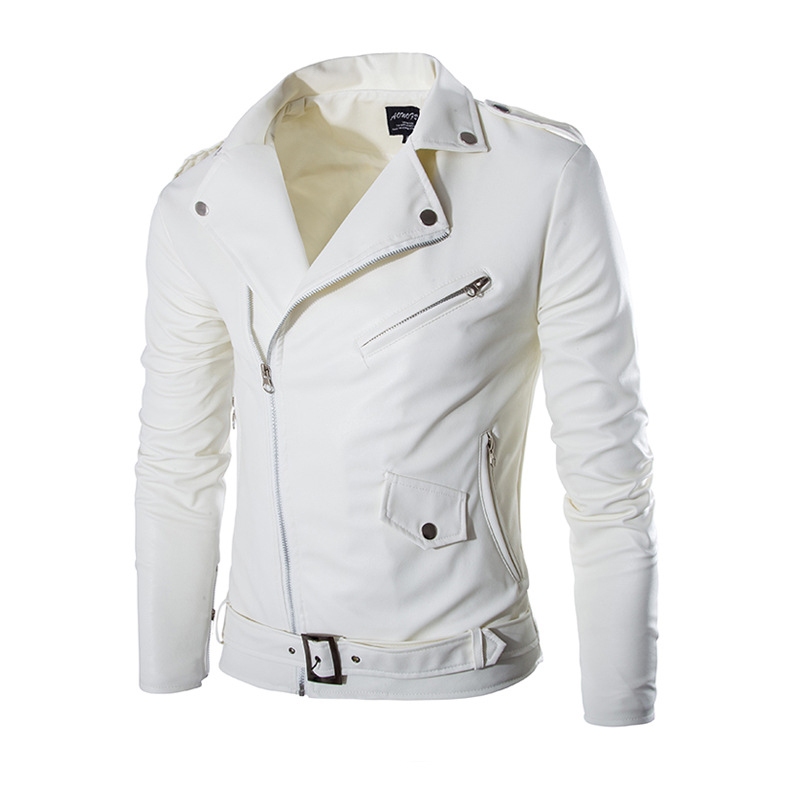 Fashion Brand blouson cuir homme Autumn British White PU Washed Leather Jacket Men Casual Motorcycle Slim Fit Zipper Jackets(China (Mainland))