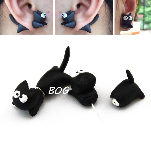 BOG-Lot 10 Pairs Handmade Polymer Clay Cute Cartoon Cat Through Your Ear Stud Earrings Fake Ear Plugs<br><br>Aliexpress