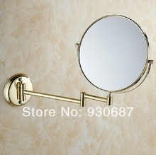 Luxury Gold-plate Beauty Bathroom Wall Mounted Magnifying Make-up Mirror(China (Mainland))