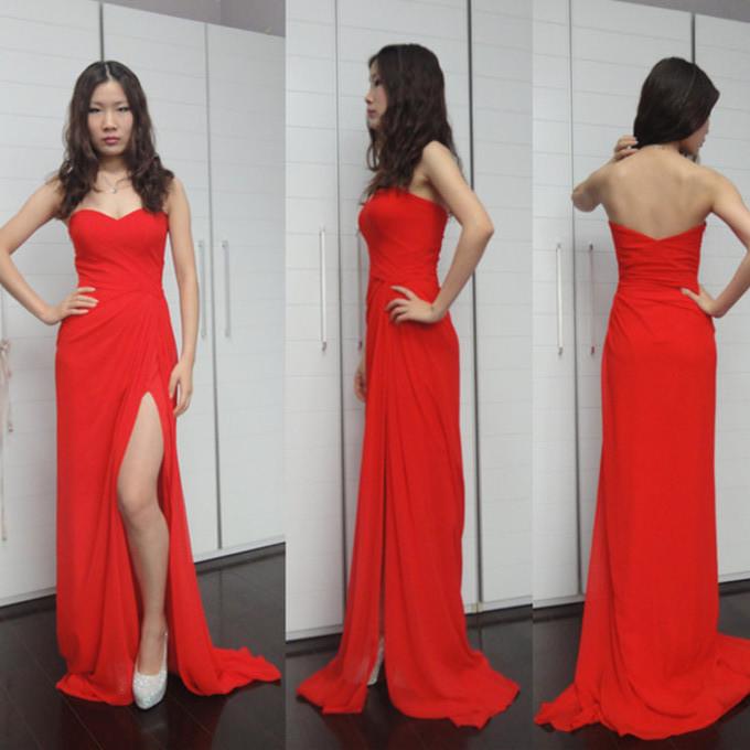 2014 popular summer strapless prom dresses high side slit
