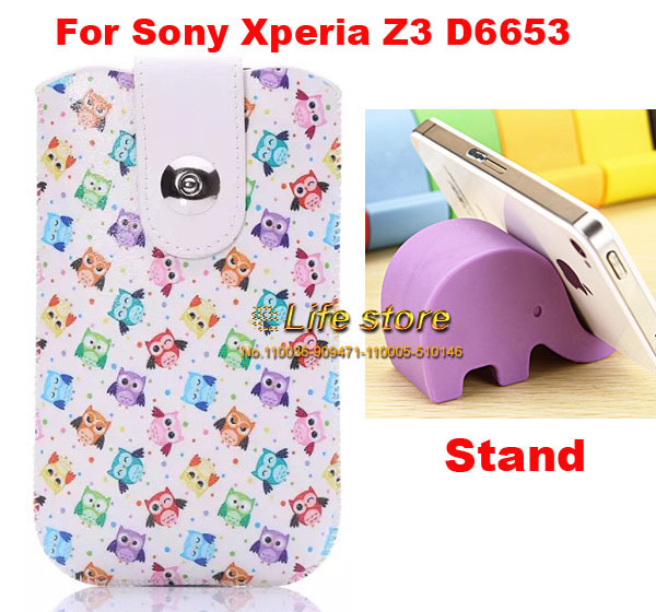Mobile Phone Leather Case Mobile Phone Pouch Belt Clip +Silicon Mobile phone Stand For Sony Xperia Z3 D6653 ,(China (Mainland))
